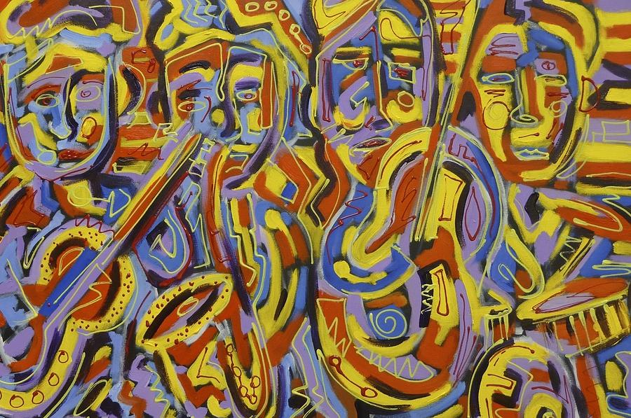 Musicians Painting - Street Music by Isaac Rudansky