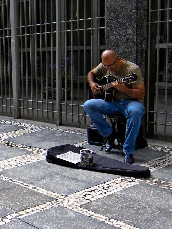 Man Photograph - Street Musician - Sao Paulo by Julie Niemela