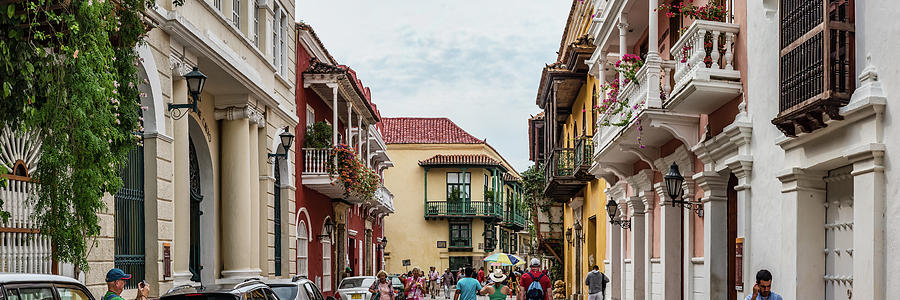 Horizontal Photograph - Street Scene In Old Town, Cartagena by Panoramic Images