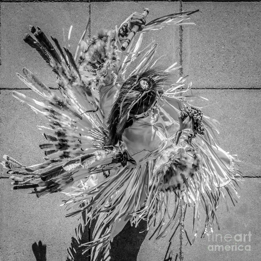 Aerial Photograph - Street Shadow Dancer 1 - Black And White - Square Crop by Ian Monk
