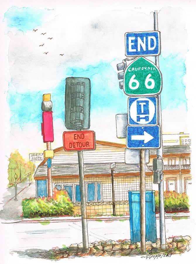 Street Signs In Route 66, San Bernardino, California Painting