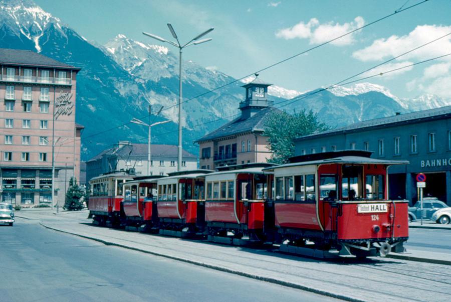 Streetcar Photograph - Street Train Innsbruck 1962 by Cumberland Warden
