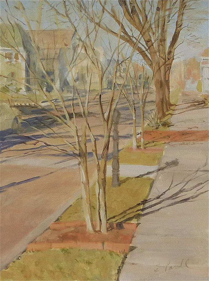 Street Trees With Winter Shadows Painting