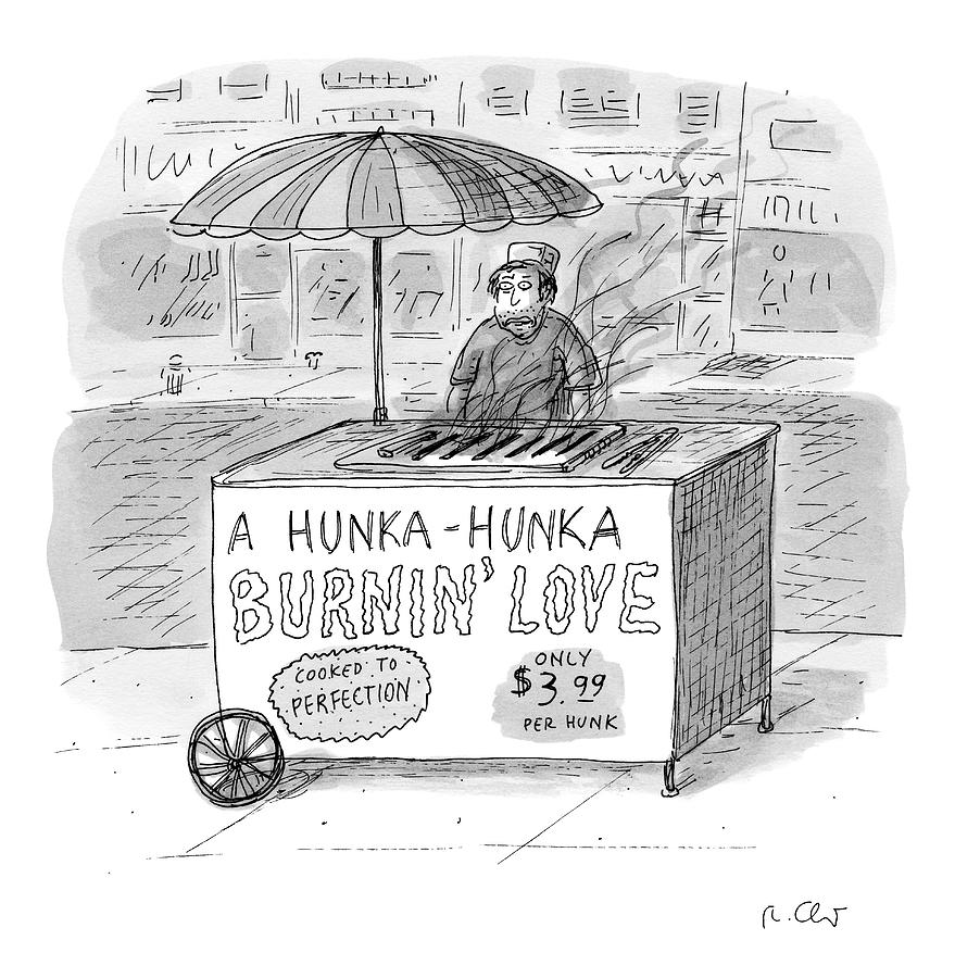 Street Vendor Stands Behind His Cart Drawing by Roz Chast