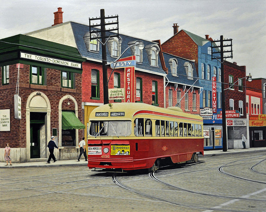 Streetcar Painting - Streetcar On Queen Street 1963 by Kenneth M  Kirsch
