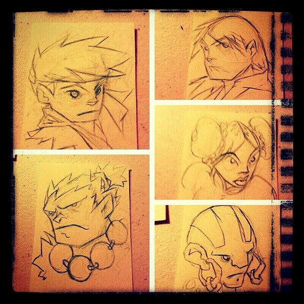 Sketch Photograph - Streetfighter Sketchcards Lines Wip by Ashon Wynn