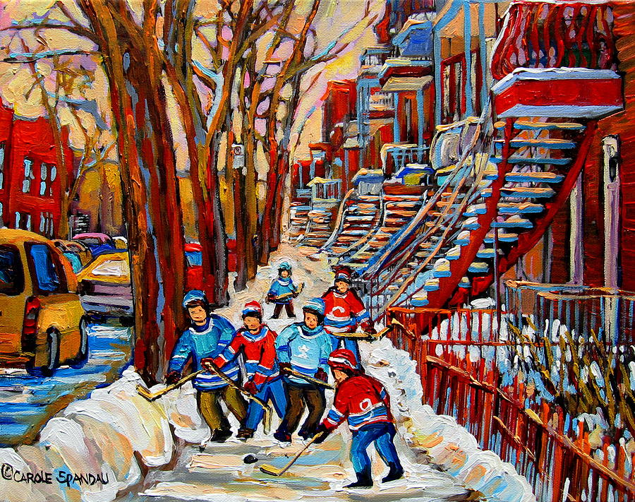 Montreal Painting - Streets Of Verdun Hockey Art Montreal Street Scene With Outdoor Winding Staircases by Carole Spandau