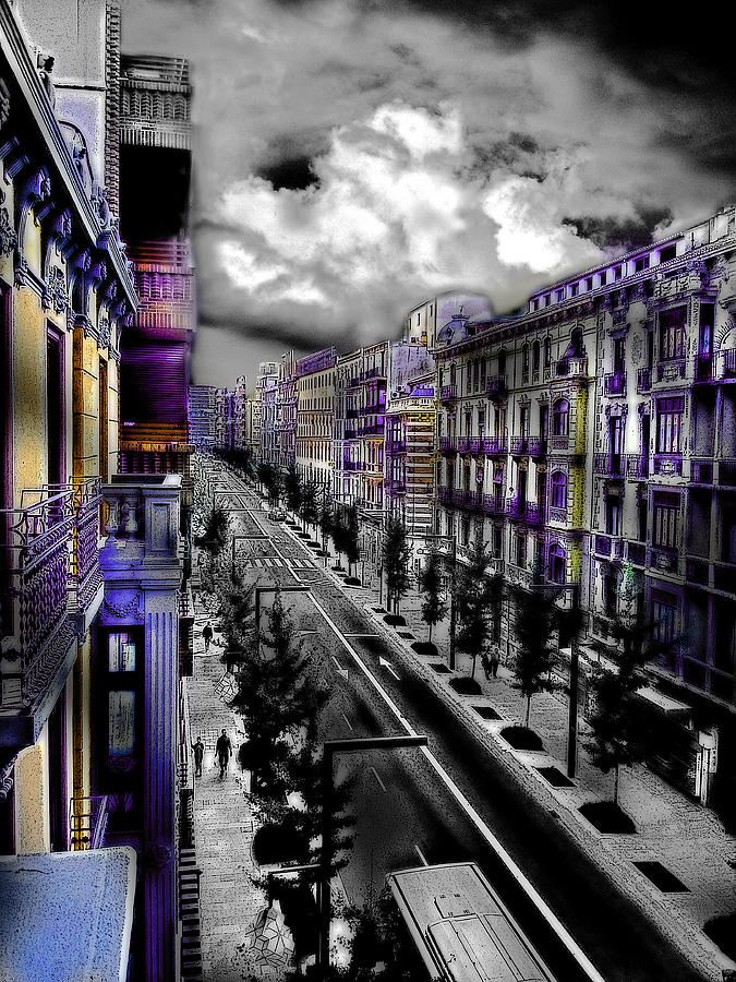 Spain Digital Art - Streetwise In Spain by Cary Shapiro