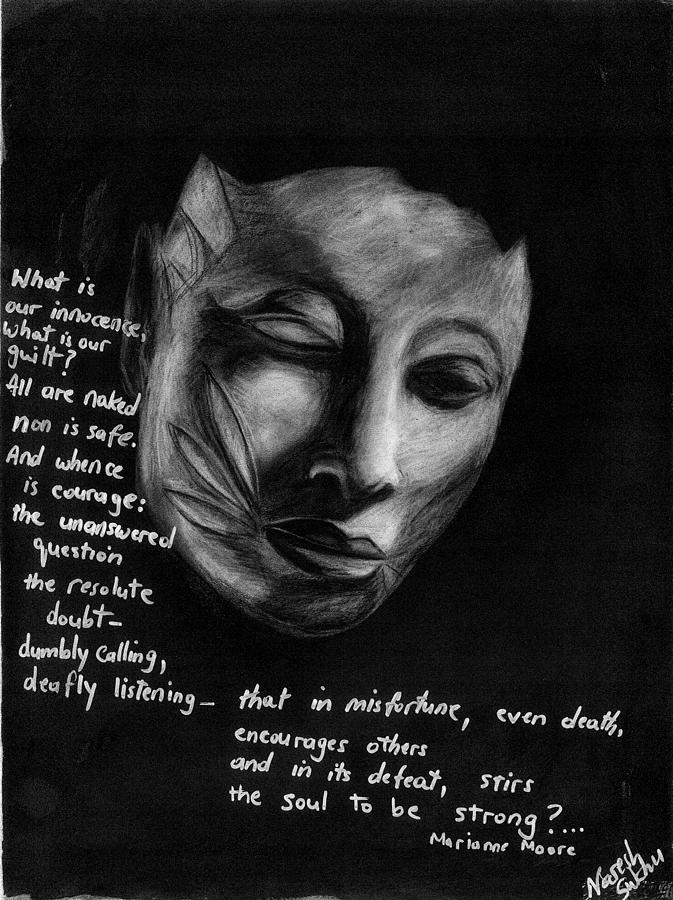 Face Of Courage Drawing - Strength Of Spirit by Naresh Sukhu