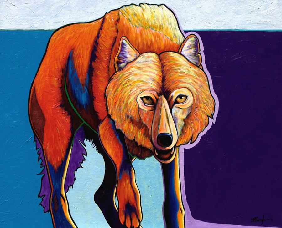 Contemporary Painting - Strictly Business - Arctic Wolf by Joe  Triano