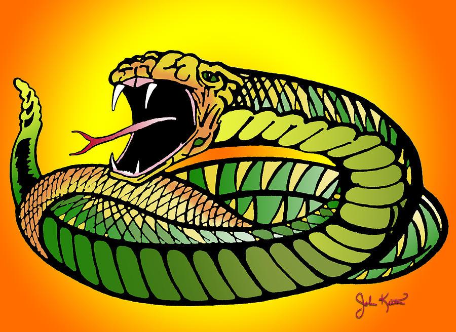 Striking Snake Digital Art - Striking Snake by John Keaton