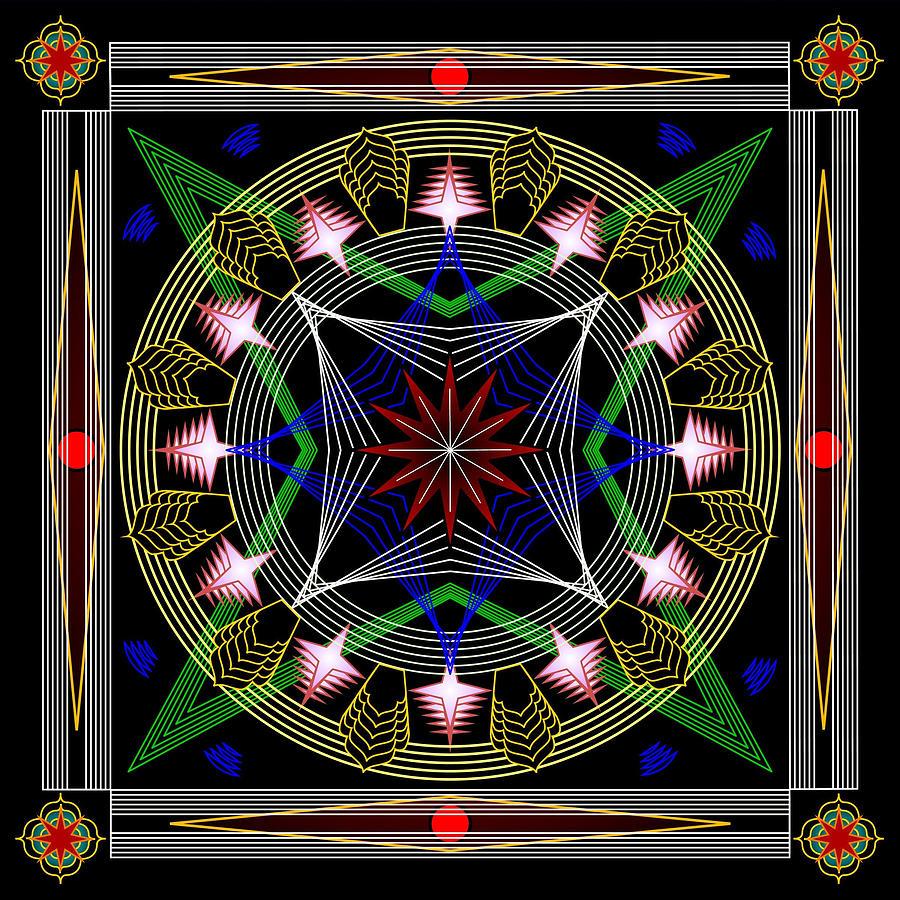Mandalas Digital Art - Stringart312 by Mario Carini