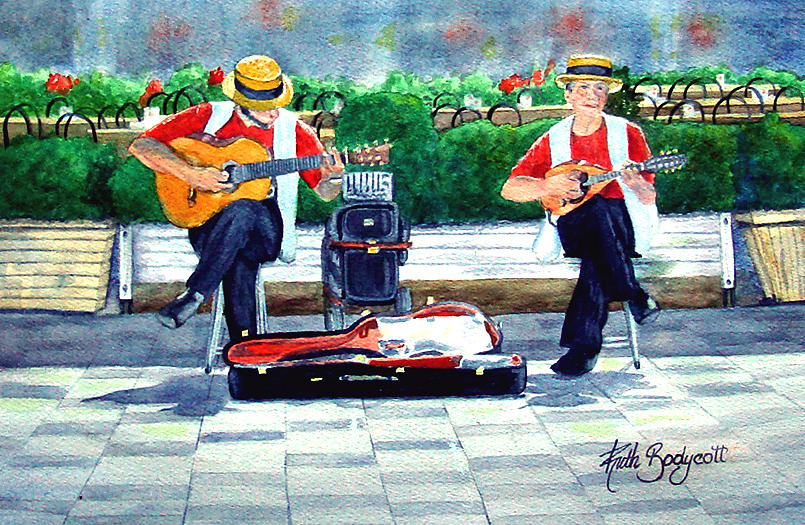 Guitarist Painting - Strings At The Sidewalk Cafe by Ruth Bodycott