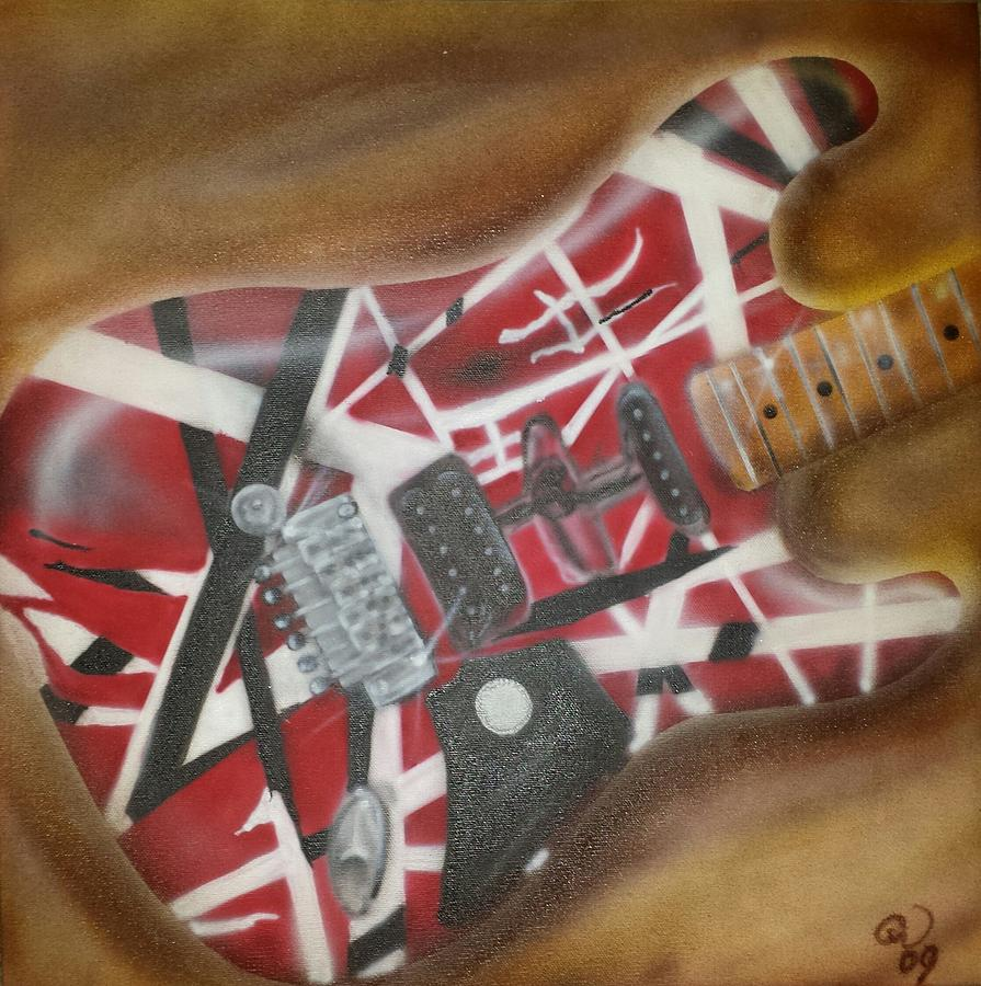 Electric Guitar Painting - Striped Guitar by Phillip Whitehead