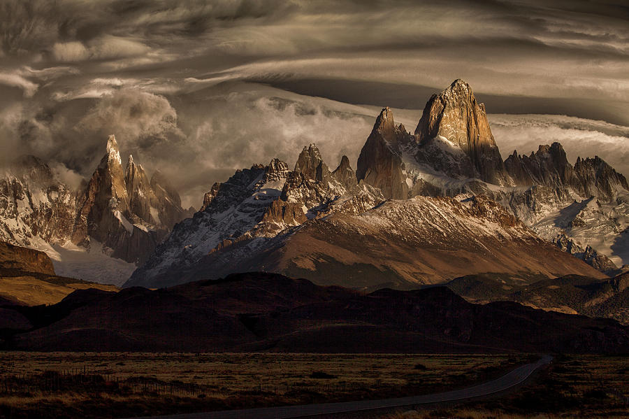 Patagonia Photograph - Striped Sky Over The Patagonia Spikes by Peter Svoboda, Mqep
