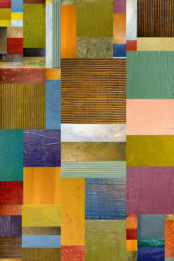 Textured Painting - Strips And Pieces Lv by Michelle Calkins