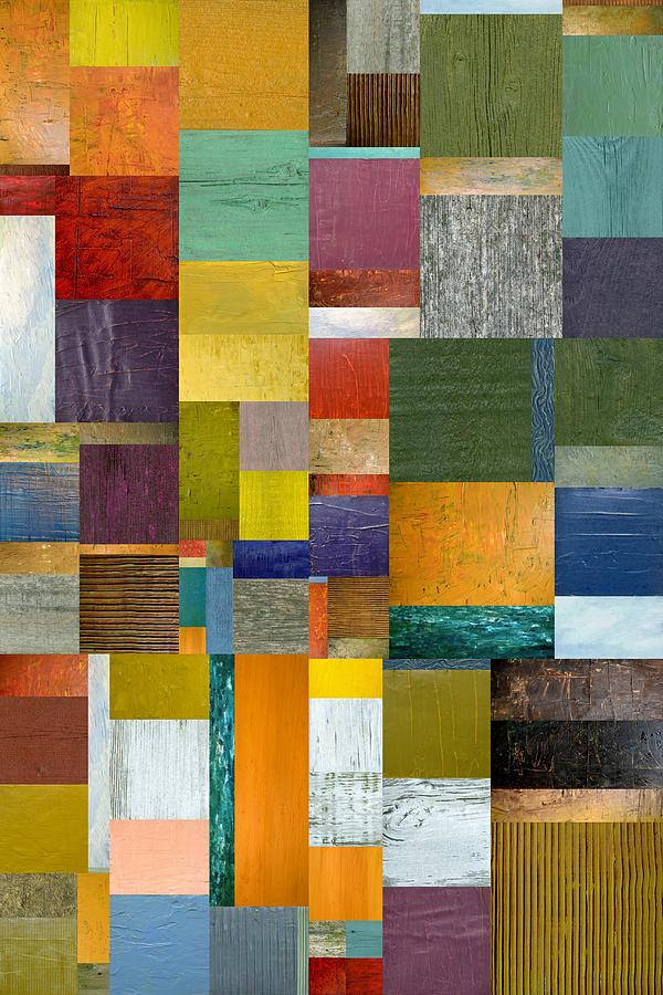 Textured Painting - Strips And Pieces V by Michelle Calkins