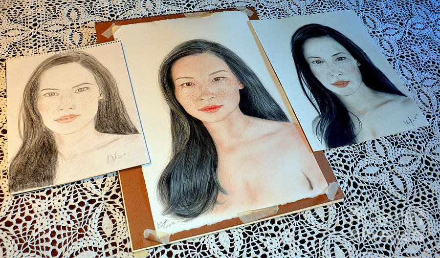 Drawing Drawing - Striving To Improve On My Drawing Of Lucy Liu by Jim Fitzpatrick