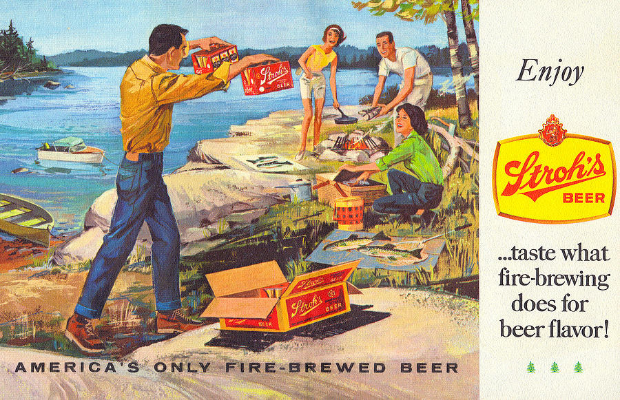 Stroh's Drawing - Strohs Campfire Ad by John Farr
