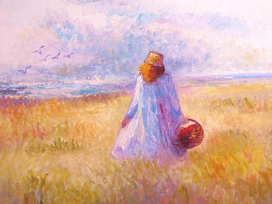 Stroll By The Sea Painting by Martha Sterling