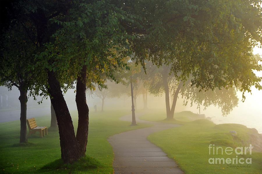 Cadillac Photograph - Stroll In The Fog by Terri Gostola