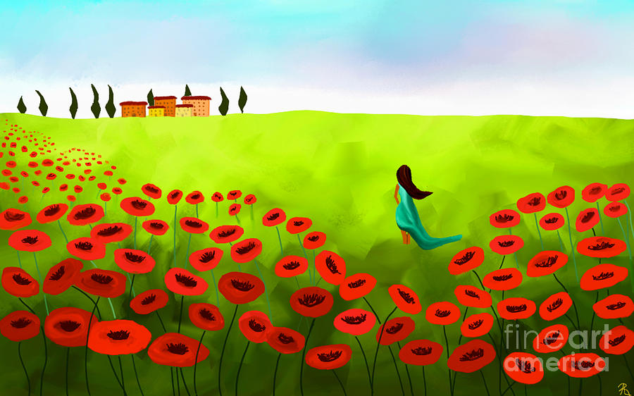Strolling Among The Red Poppies Painting