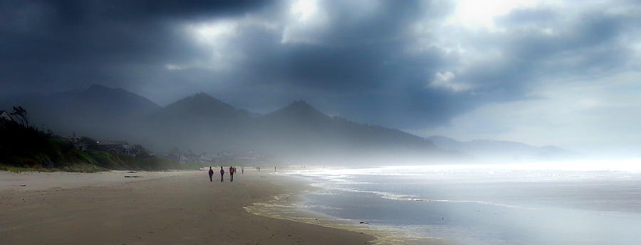 Ocean Photograph - Strolling the Oregon coast by Mike  Bennett