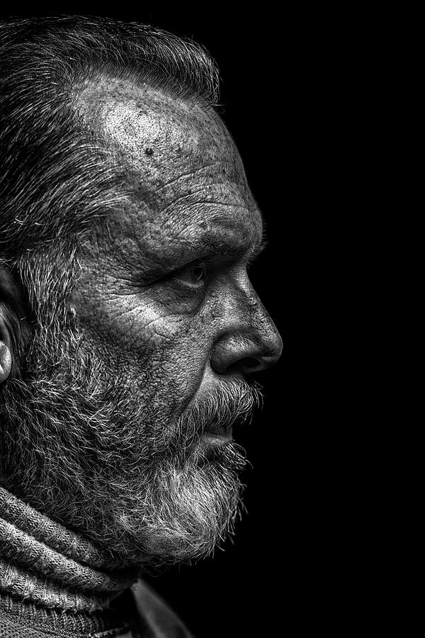Strong B&w Portrait Of A Rugged Looking Photograph by Cmannphoto