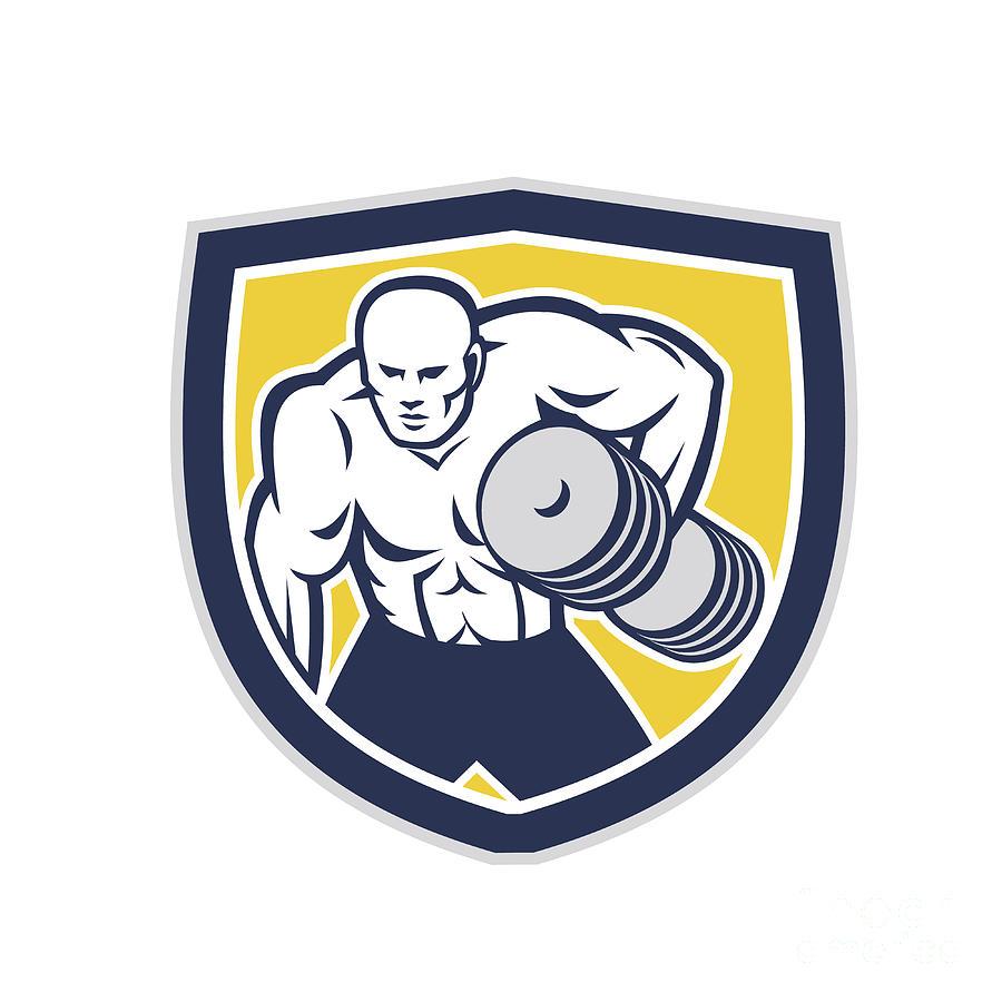 Strongman Digital Art - Strongman Lifting Dumbbells Front Shield Retro by Aloysius Patrimonio