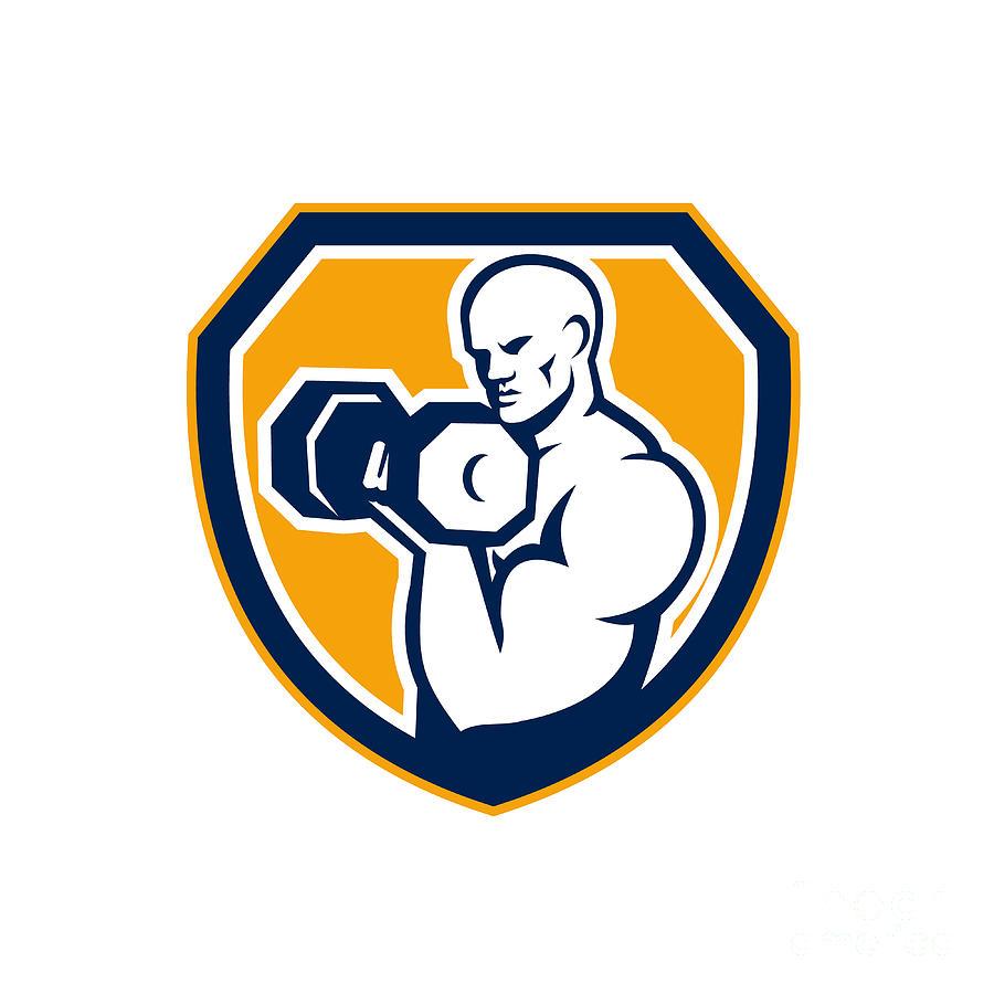 Strongman Digital Art - Strongman Pumping Dumbbells Shield Retro by Aloysius Patrimonio