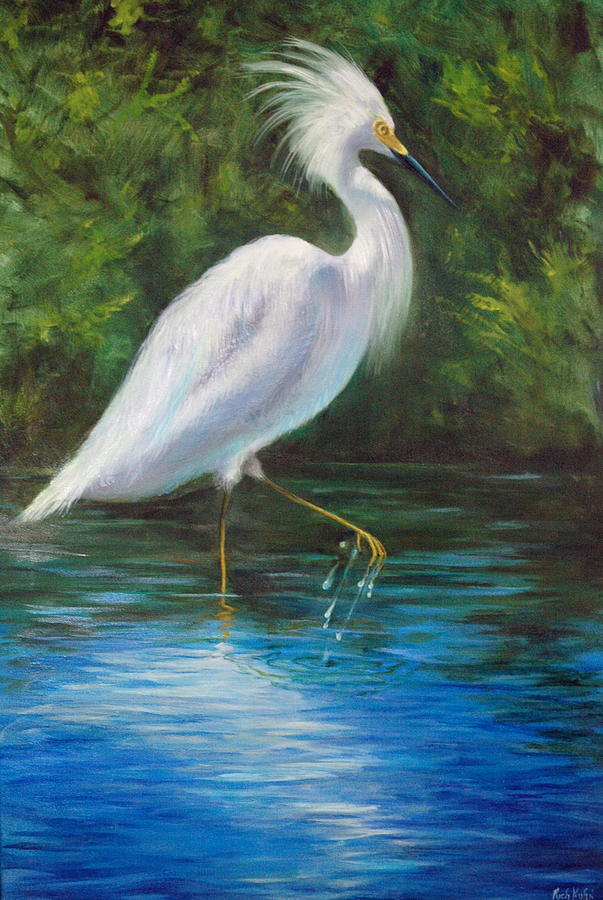 White Egret Painting - Strutting Egret by Rich Kuhn