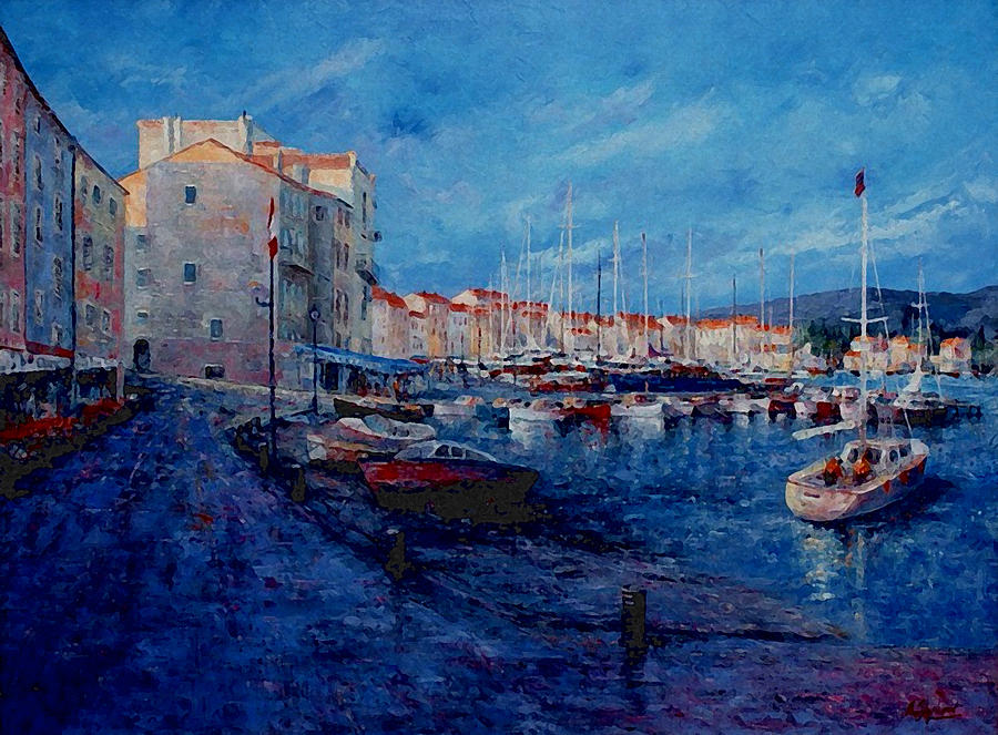Originals Painting - St.tropez  - Port -   France by Miroslav Stojkovic - Miro