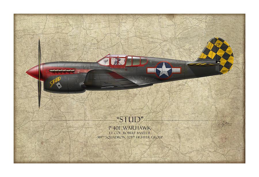 Aviation Painting - Stud P-40 Warhawk - Map Background by Craig Tinder