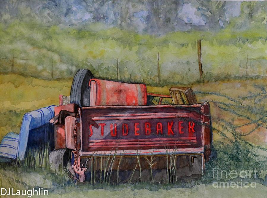 Classic Studebaker Painting - Studebaker Truck Tailgate by DJ Laughlin