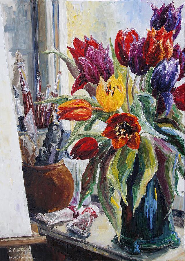Barbara Pommerenke Painting - Studio Corner With Tulips by Barbara Pommerenke