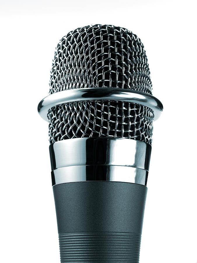 Studio Shot Of Microphone On White Photograph by David Arky