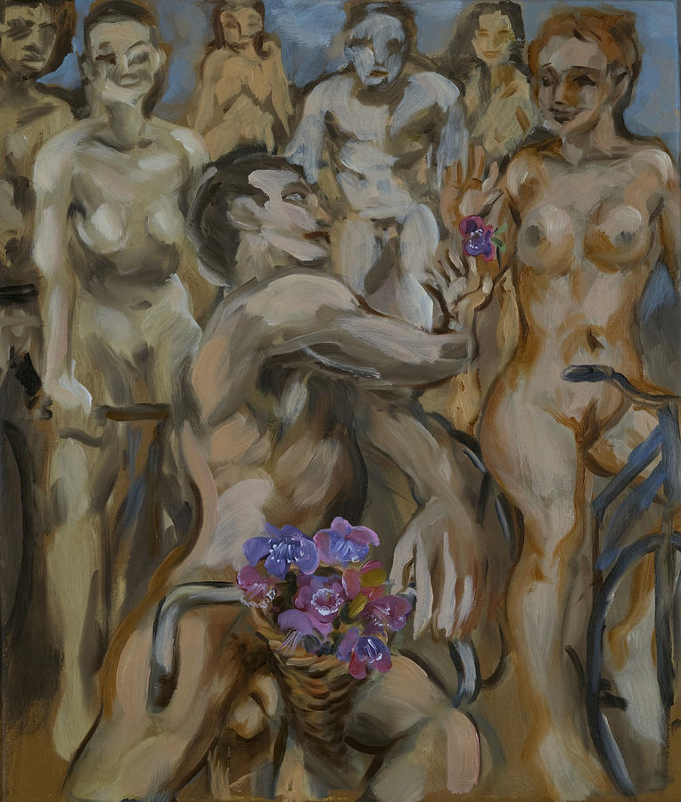Naked Bike Ride Painting - Study For Flowers On The Naked Bike Ride by Peregrine Roskilly