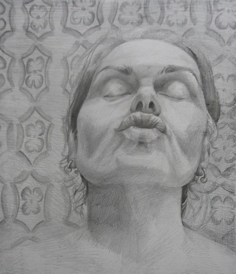 Portrait Drawing - Study For Kisses by Julie Orsini Shakher