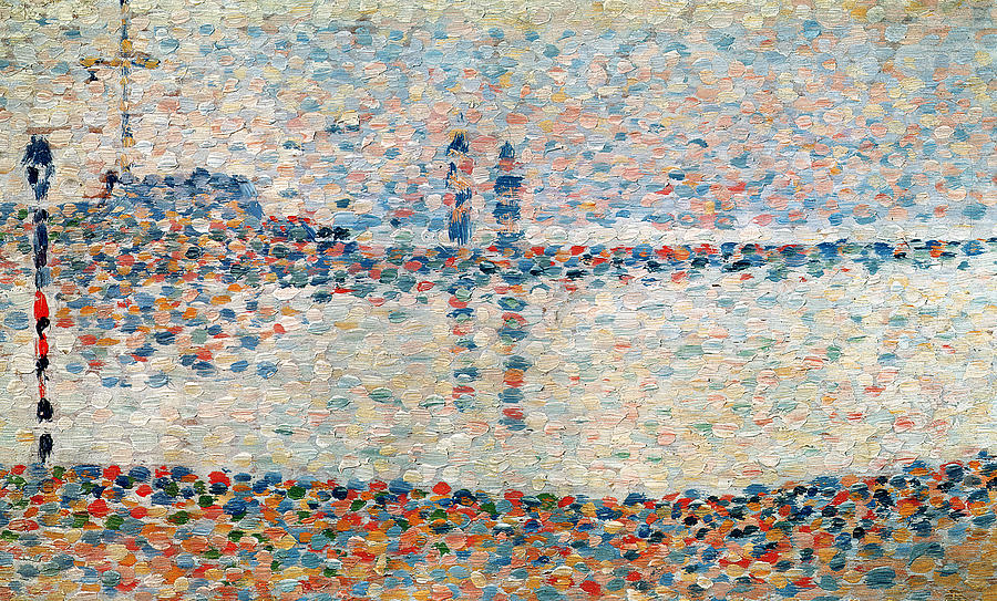 Seurat Painting - Study For The Channel At Gravelines Evening by Georges Pierre Seurat
