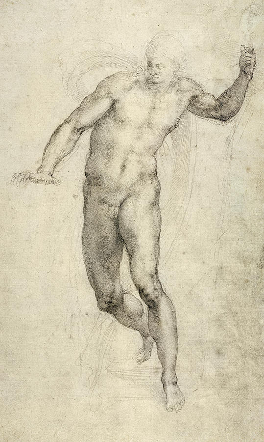 Sketch Painting - Study For The Last Judgement  by Michelangelo  Buonarroti