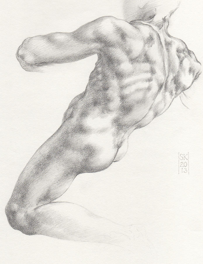 Study for the Male Nude at Right above the Persian Sibyl after Michelangelo Buonarotti by Scott Kirkman