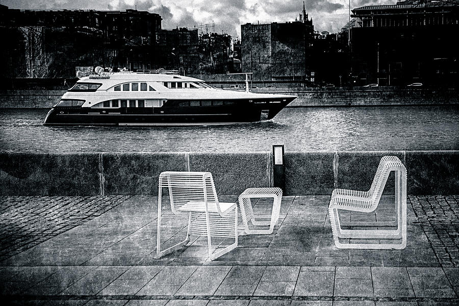 Boat Photograph - Study In Black And White by Alexander Senin