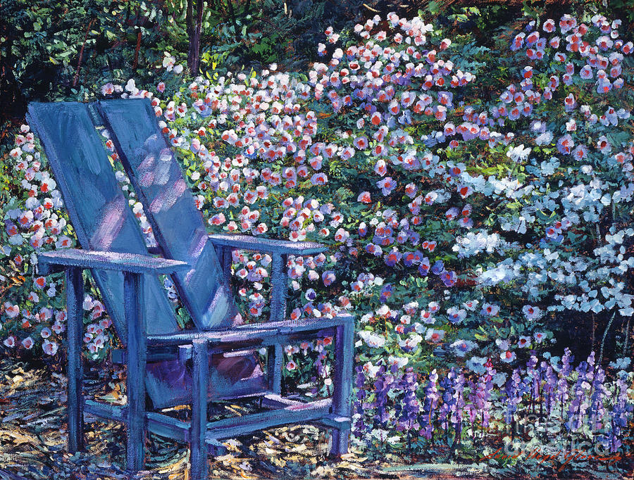 Gardens Painting - Study In Blue by David Lloyd Glover