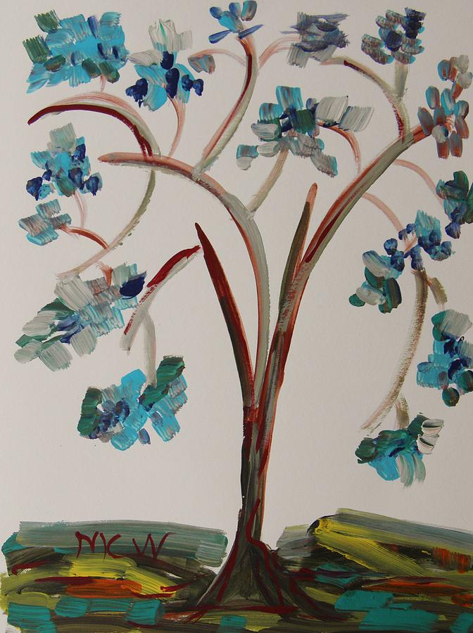 Colors Painting - Study Of A Blue Tree by Mary Carol Williams