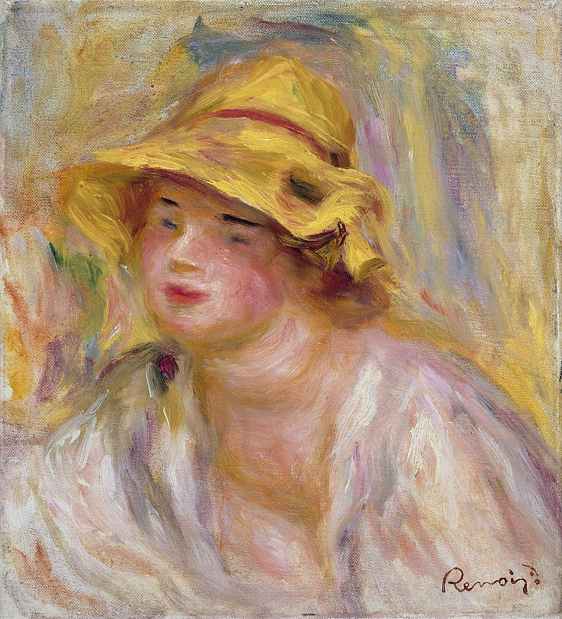 Impressionist Painting - Study Of A Girl, C.1918-19 by Pierre Auguste Renoir