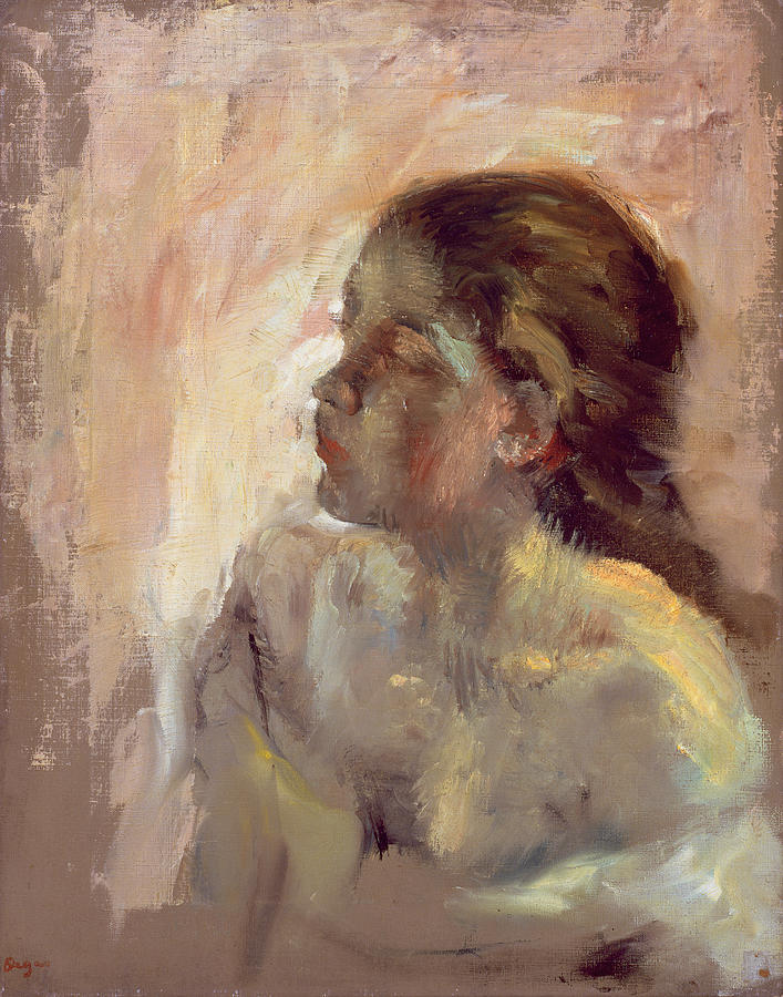 Study Of A Girls Head Late 1870s Painting By Edgar Degas