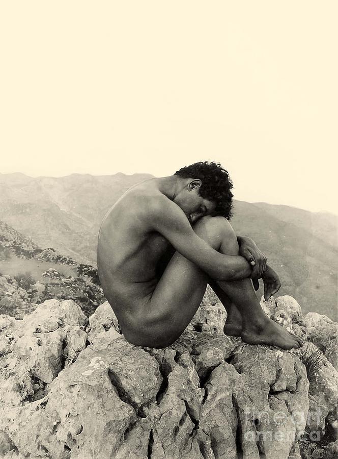 Gloeden Photograph - Study Of A Male Nude On A Rock In Taormina Sicily by Wilhelm von Gloeden