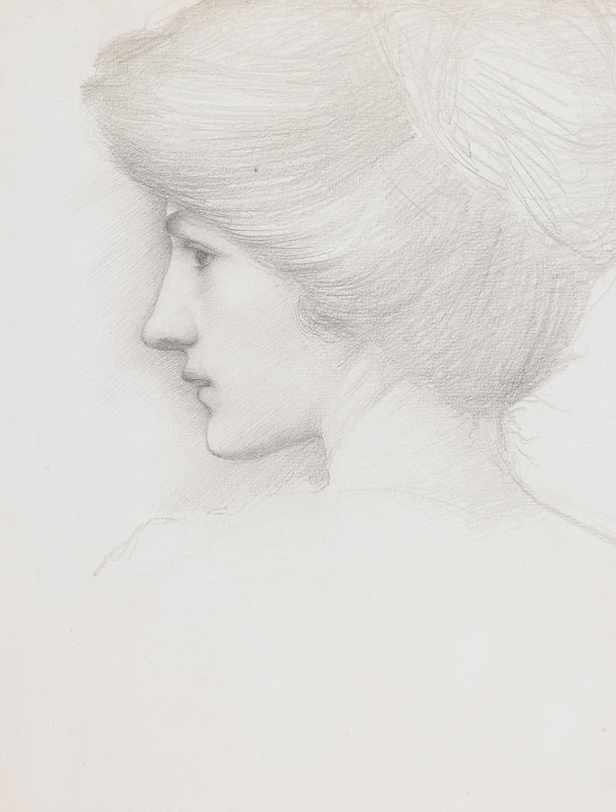 Pencil On Paper Drawing - Study Of A Womans Head Profile To Left by Sir Edward Coley Burne-Jones