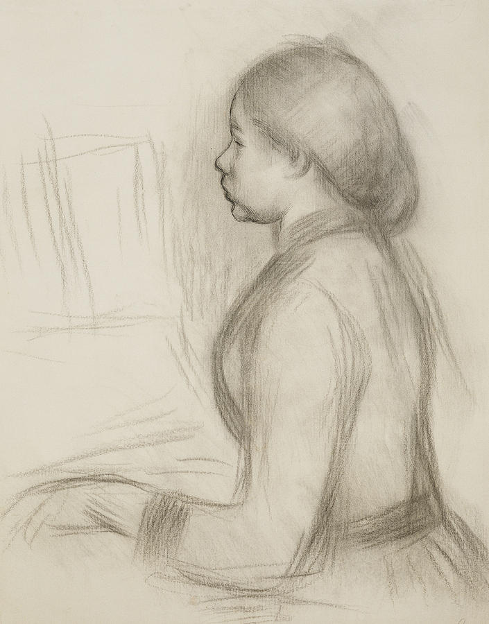 Attire Drawing - Study Of A Young Girl At The Piano by Pierre Auguste Renoir
