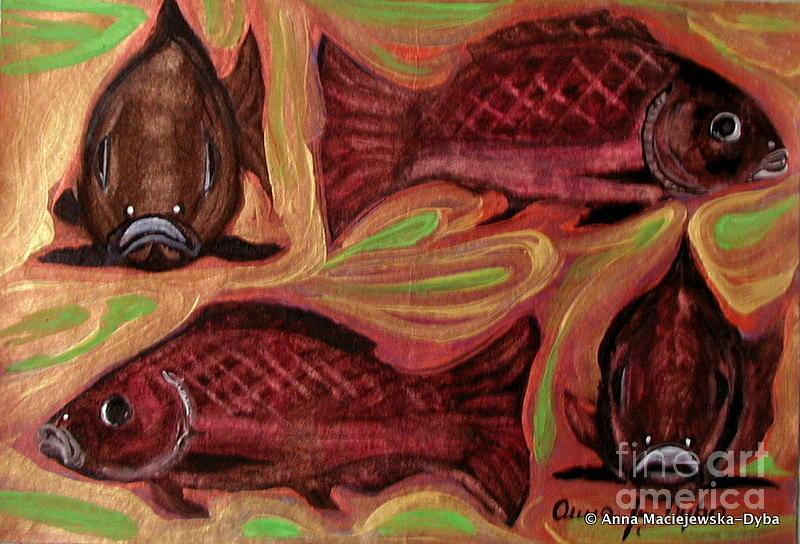 Study Of Fish Painting - Study Of Fish by Anna Folkartanna Maciejewska-Dyba